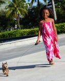 Enfant marchant son crabot Photographie stock
