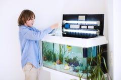 Enfant mettant de nouveaux poissons dans un aquarium Images libres de droits