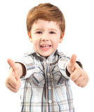 Enfant mignon avec des pouces vers le haut Image stock
