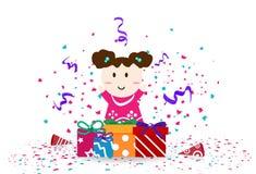 Enfant mignon avec le jour de célébration, abrégé sur partie de festival de confettis illustration libre de droits