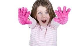 Enfant mignon avec les gants roses photos libres de droits