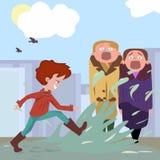 Enfant okropny natryskiwanie pasersby ilustracja wektor