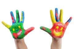 Enfant peint à la main Image libre de droits