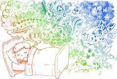 Enfant rêvant mignon illustration stock