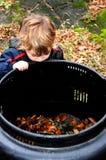 Enfant regardant dans le coffre de compost Photo stock