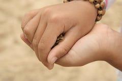 Enfant retenant une petite grenouille Photos stock