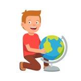 Enfant s'asseyant au globe terrestre illustration de vecteur