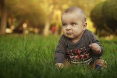 Enfant s'asseyant sur l'herbe Image stock