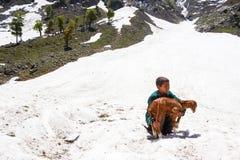 Enfant sans abri fatigué recherchant l'abri Photo libre de droits
