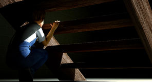 Enfant se cachant sous des escaliers illustration libre de droits