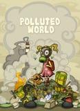 Enfant se tenant sur des déchets de pile. L'espace pour le dessus des textes Photo libre de droits