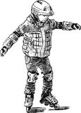 Enfant sur des patins de rouleau Image libre de droits
