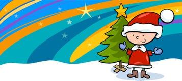 Enfant sur la carte de voeux de bande dessinée de Noël Photo libre de droits