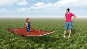 Enfant sur le tapis et l'homme de vol Images libres de droits