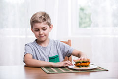 Enfant tatillon avec le sandwich au poulet Photos stock