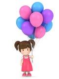 tapis de souris Petite fille tenant des ballons colors