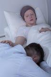 Enfant triste avec le carcinome Photos stock