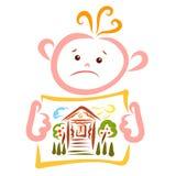 Enfant triste tenant un morceau de papier avec la maison peinte, le jardin et le soleil gai illustration de vecteur