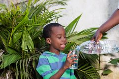 Enfant, utilisé, l'eau, verre, père, souriant, famille, heureux, souriant, garçon, petit, bouteille, participation, fleur, montre images stock