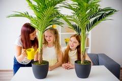 Enfantez les eaux les fleurs avec ses filles mignonnes photo stock