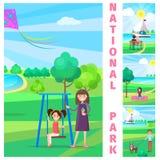 Enfantez près de la fille sur l'oscillation en parc national illustration de vecteur