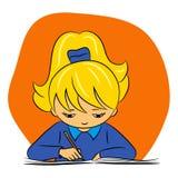 Enfants à l'école - la fille écrit Images stock