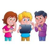 Enfants à l'aide de la Tablette électronique Images stock