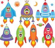 Enfants à l'intérieur de vaisseau spatial, vaisseau spatial Photos stock
