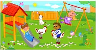 Enfants à la cour de jeu illustration libre de droits