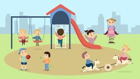 Enfants à la cour de jeu illustration de vecteur