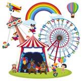 Enfants à une scène de parc d'amusement illustration de vecteur