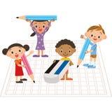 Enfants écrivant la composition illustration libre de droits
