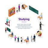 Enfants étudiant et vue isométrique de Banner Card Circle de professeur Vecteur illustration libre de droits
