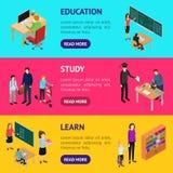 Enfants étudiant et vue isométrique horizontale de l'ensemble 3d d'Education Concept Banner de professeur Vecteur illustration de vecteur