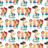 Enfants étudiant le modèle sans couture allant d'enseignement primaire d'enfance d'étude d'enfants d'école ensemble de vecteur he illustration libre de droits