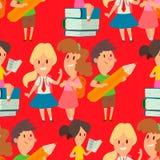 Enfants étudiant le vecteur heureux allant de caractère d'enseignement primaire d'enfance d'étude d'enfants d'école ensemble illustration libre de droits