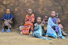 Enfants africains de tribu de masai Photos stock