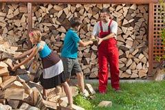 Enfants aidant leur père à empiler le bois de chauffage Photographie stock