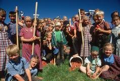 Enfants amish de ferme Photo stock