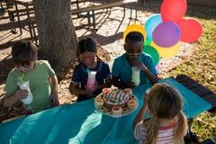 Enfants appréciant la boisson tout en se reposant à la table en parc Photos libres de droits