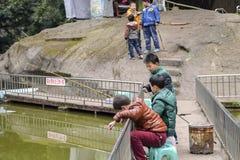 Enfants apprenant à pêcher Photo libre de droits