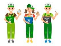 Enfants apprenant réutilisant des déchets illustration de vecteur