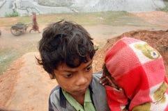 Enfants au Brick-field Images libres de droits