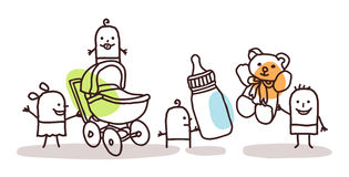Enfants avec des accessoires illustration stock