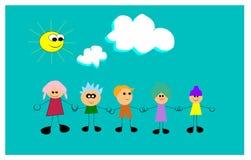 Enfants avec des cheveux de bubblegum Images libres de droits