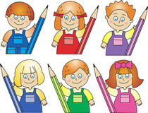 Enfants avec des crayons Photos libres de droits