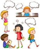 Enfants avec des pensées vides Photos libres de droits