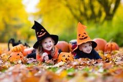 Enfants avec des potirons Halloween Images libres de droits