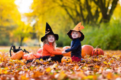 Enfants avec des potirons Halloween Photos libres de droits