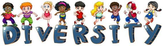 Enfants avec différentes nationalités illustration stock